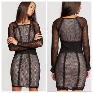 Free People Mesh and Lace Black Dress